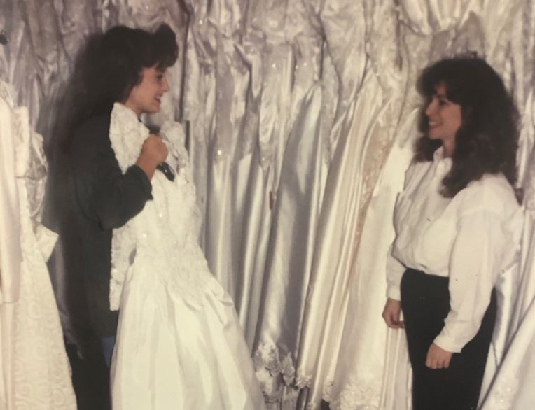 Caroline (right) with Bridal Boutique's very first bride in 1990.